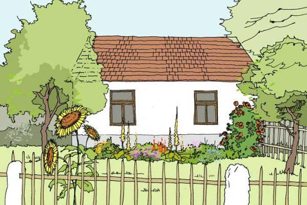 zahrada u domku v návrhu