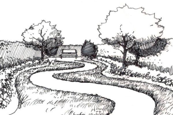 Cesta se vine zahradou